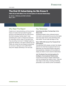 Forrester Report: The End Of Advertising As We Know It